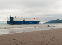 Cargo ship near shore on the Columbia River Stock Photography