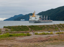 Cargo ship near shore on the Columbia River Royalty Free Stock Images