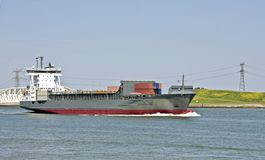 Cargo ship in the Netherlands. Cargo ship on the Nieuwe Waterweg in the Netherlands Royalty Free Stock Photo
