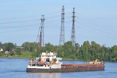Cargo ship on the Neva river Royalty Free Stock Photo