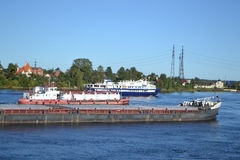 Cargo ship on the Neva river Stock Image