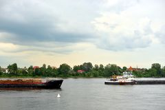 Cargo ship on the Neva river. Cargo ship on the Neva river in outskirts of St.Petersburg, Russia Stock Photo