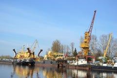 Cargo ship on the Neva river. Otradnoe town, Leningrad Region, Russia Royalty Free Stock Images
