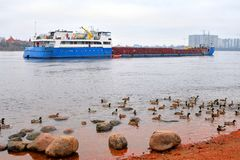 Cargo ship on Neva River. Cargo ship on Neva River on the outskirts of St. Petersburg at cloud day, Russia Stock Photos
