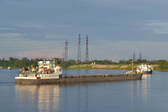 Cargo ship on the Neva river. Royalty Free Stock Image