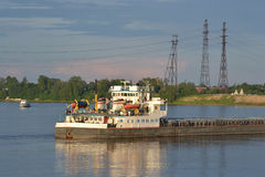 Cargo ship on the Neva river. Stock Image