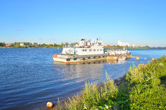 Cargo ship on the Neva river Stock Images