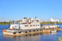 Cargo ship on the Neva river Stock Photo