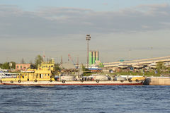 Cargo ship on the Neva river. Royalty Free Stock Photography