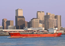 Cargo Ship and New Orleans Skyline royalty free stock images