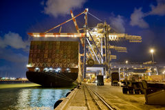 Cargo ship by night. Cargo ship at dock by night from behind Royalty Free Stock Photos