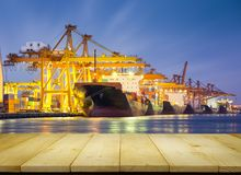 Cargo ship night Stock Image
