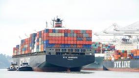Cargo ship NYK APHRODITE entering the Port of Oakland. Oakland, CA - August 22, 2016: Cargo ship NYK APHRODITE arriving at the Port of Oakland. Nippon Yusen Royalty Free Stock Image