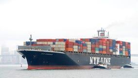 Cargo ship NYK APHRODITE entering the Port of Oakland Royalty Free Stock Photo