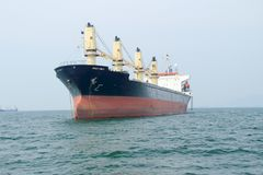 Cargo ship. In the ocean at the gulf of Thailand, Sri Racha, Thailand stock image
