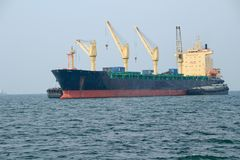 Cargo ship. In the ocean at the gulf of Thailand, Sri Racha, Thailand stock images