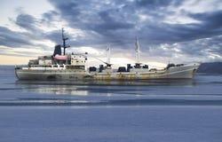 Cargo ship in the ocean Stock Image