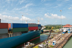Cargo Ship in the Panama Canal Stock Photo