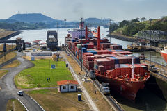 Cargo Ship in the Panama Canal Royalty Free Stock Photography
