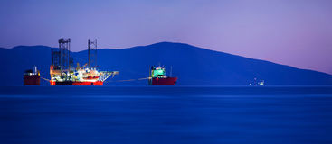 Cargo ship panorama Royalty Free Stock Photography