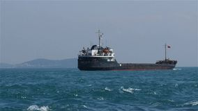The cargo ship passed the Bosphorus stock video footage