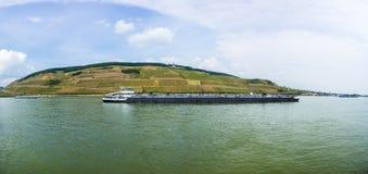 Cargo ship on pier in Bingen Royalty Free Stock Photography