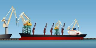 Cargo ship. The cargo ship at pier in the harbor Royalty Free Stock Photo