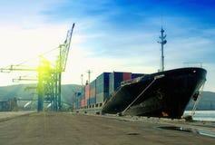 Cargo Ship In A Port Stock Photo