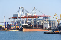 Cargo ship in port Stock Images
