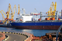 Cargo ship in port Royalty Free Stock Image