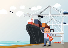 Cargo ship in port. Figure of man in front Royalty Free Stock Photo