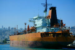 Cargo ship in a port Stock Image
