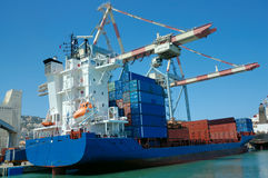 Cargo ship in a port royalty free stock image