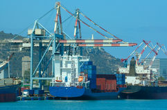 Cargo ship in a port Stock Photo