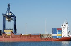 Port. Cargo  ship in the port of Cadiz, Andalucia, Spain Royalty Free Stock Images