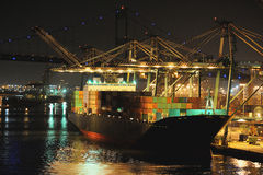 Cargo ship in port Royalty Free Stock Photos
