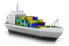 Cargo ship at the port. 3d render of Cargo ship at the port Stock Photography