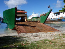 Cargo ship at port elizabeth, bequia. Royalty Free Stock Image