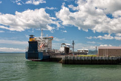 Cargo ship in port in La Malbaie Stock Images