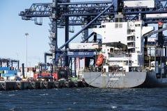 Cargo ship in port Stock Photo