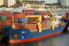 Cargo ship at the Port of Miami Royalty Free Stock Image