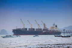 Cargo ship at port. On sea Royalty Free Stock Photography