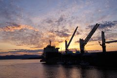 Cargo ship in the Port of Victoria at Sunset Stock Photography