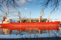 Cargo ship reflection Royalty Free Stock Image