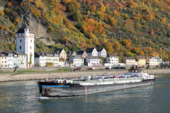 Cargo Ship on Rhine River stock photo