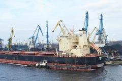 Cargo ship in the Riga port. Royalty Free Stock Photography