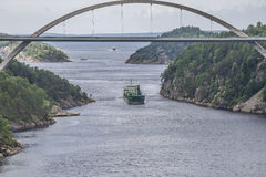 Cargo ship in ringdalsfjord Royalty Free Stock Photo