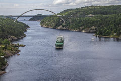 Cargo ship in ringdalsfjord Stock Photos