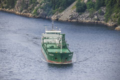 Cargo ship in ringdalsfjord Royalty Free Stock Images