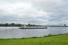 Cargo ship on the river Neva. Royalty Free Stock Photos